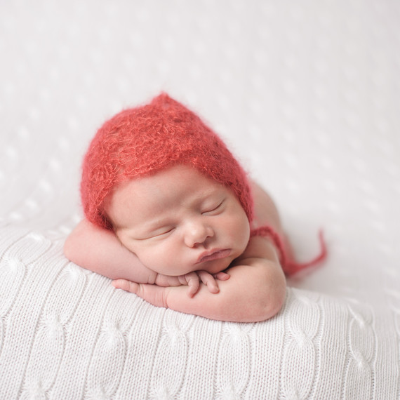baby's mohair knit red hat for