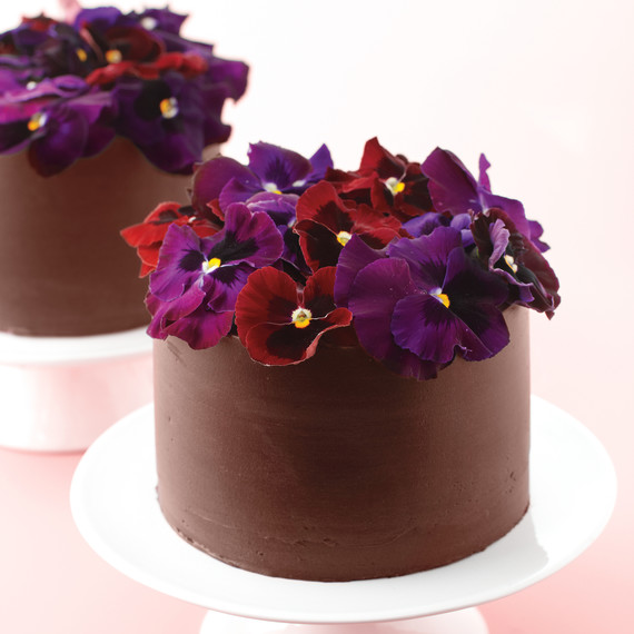 coklat cakes with pansies