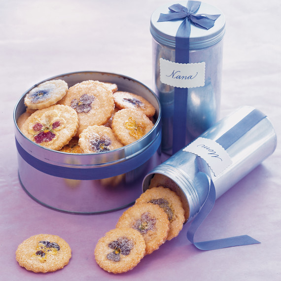 pansy cookies with tins
